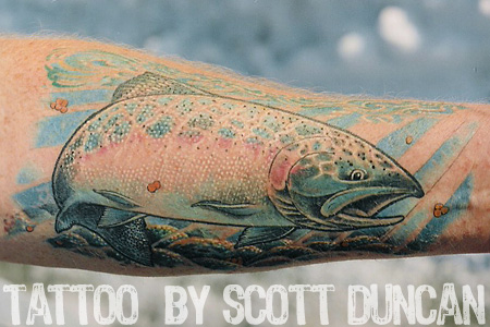Check out more of his work at Sugar Shack Tattoo dot com. Trout tattoo