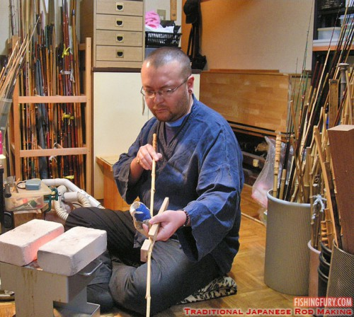 Adam making a traditional Japanese bamboo fishing rod
