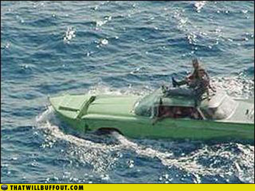 Floating Cuban cars