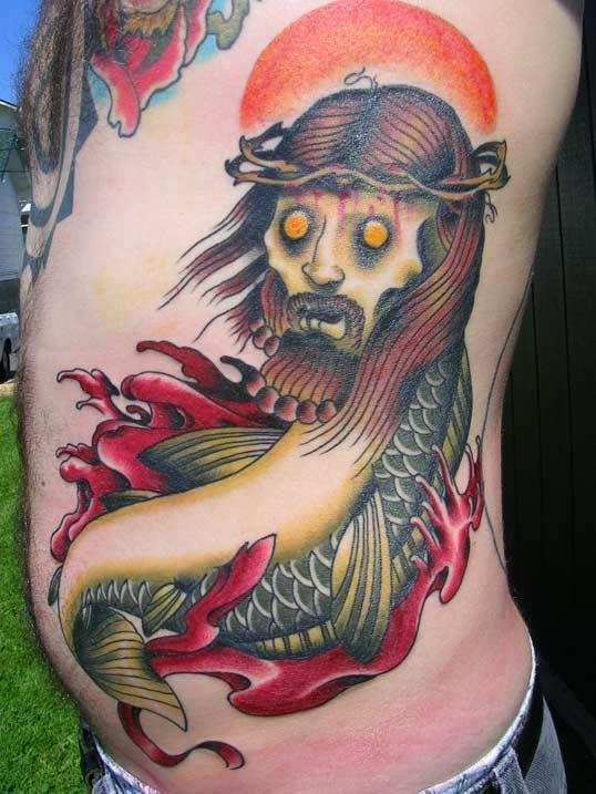 The Zombie Jesus Fish. This tattoo gets serious points for uniqueness.
