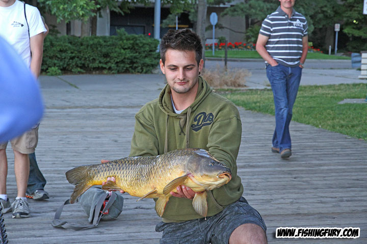 Luka Opacic with a 17 pound Toronto harbour carp