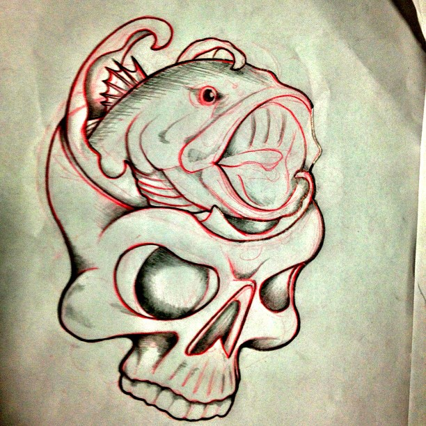 tattooed angler skull