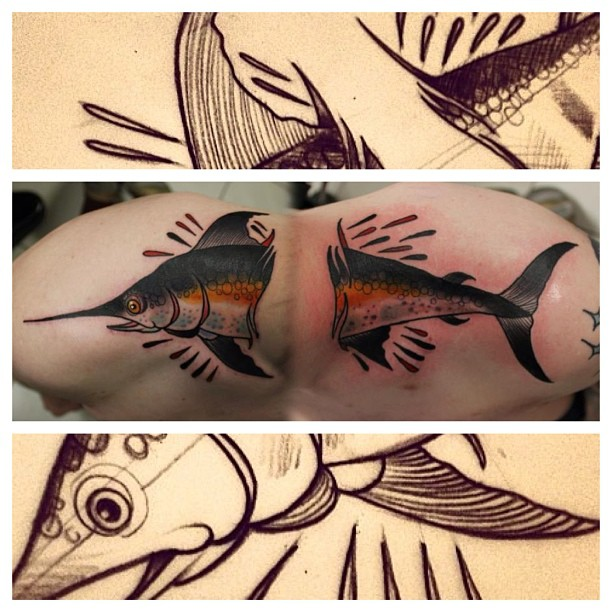 Swordfish Tattoo by Matt Adamson